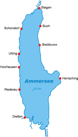 Carte du lac Ammersee